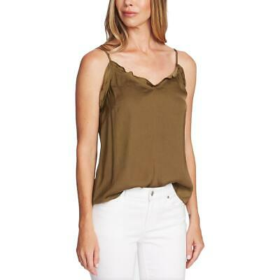 Vince Camuto Womens Green Satin Ruffled Tank Camisole Top Blouse M BHFO 4731