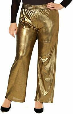 NY Collection Womens Gold Size 3XP Plus Metallic Wide Leg Pants Stretch $54 #337