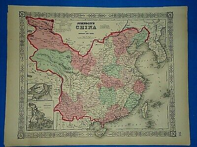 Vintage 1864  MAP ~ CHINA - COREA / KOREA ~ Old Antique Original Atlas Map