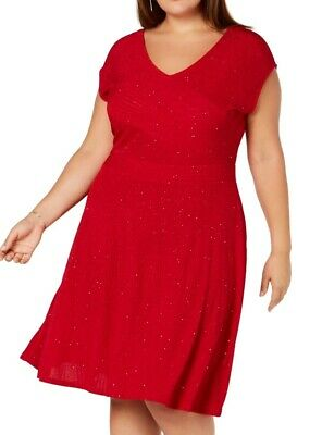 NY Collection Women's Dress Red Size 2X Plus Sheath V Neck Shimmer $70 #116