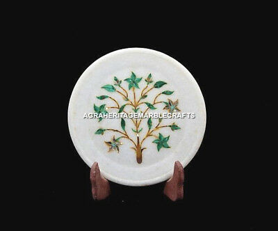 "6"" White Round Serving Marble Plate Malachite Floral Marquetry Stones Gift H5457"