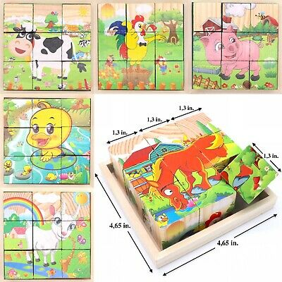 Learning Toy Cube Blocks For Kids Toddlers Educational Puzzle - Farm Animals