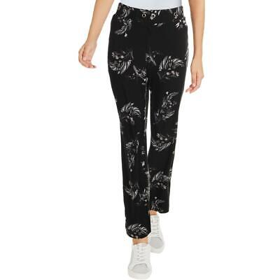 Lysse Womens Blair Black Floral Straight Leg Pull On Ankle Pants M BHFO 2938