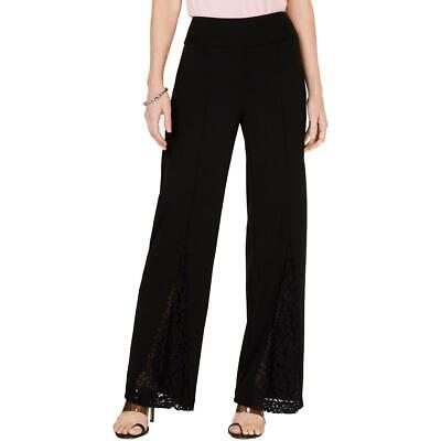 INC Womens Black Dressy Lace Inset Work Wear Wide Leg Pants 4 BHFO 2688