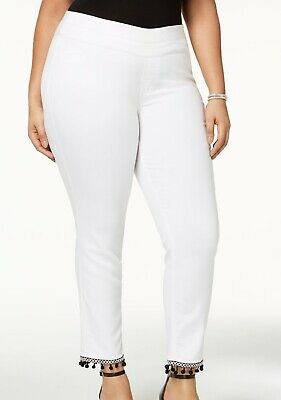 Style & Co. Women's Pants White Size 18W Plus Cropped Stretch Pom-Pom $56 #164