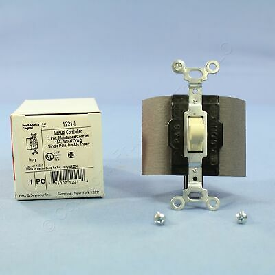 P&S Ivory 1-Pole DOUBLE THROW Center-Off Maintained Contact Switch 15A 1281-I