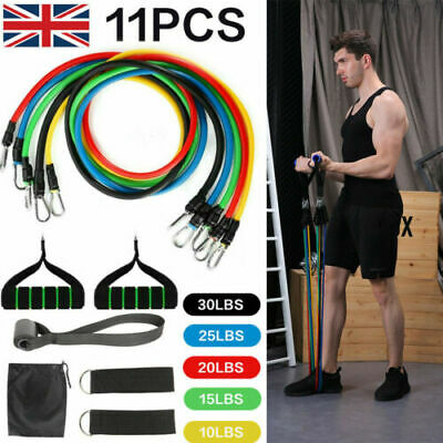 New 11 Piece Tubes Resistance Bands Set Yoga Crossfit Workout Fitness Exercise