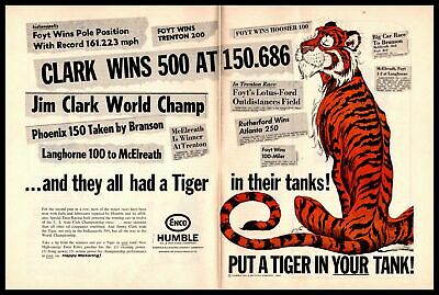 "1965 Jim Clark Wins Indy 500 Humble Oil ""Tiger In Your Tank"" Enco 2Page Print Ad"