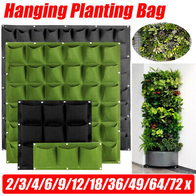 2~72Pocket Wall Hanging Planting Bag Vertical Flower Grow Pouch Planter