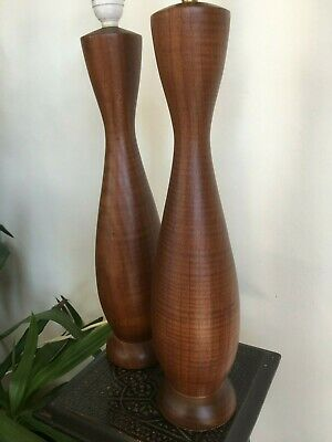 Pair 1970`s ?? tall wooden table lamps, retro, mid-century, need shades.