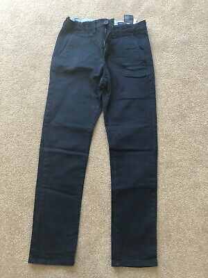 H&M Boys Navy Comfort  Fit Stretch Navy Chino Trousers Slim Age 10-11 Yrs - VGC