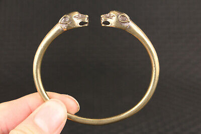 collectable chinese old bronze hand cast leopard statue bracelet jewel