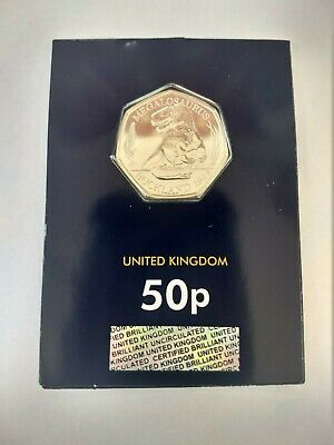 2020 MEGALOSAURUS FIFTY PENCE 50p COIN - BRILLIANT UNCIRCULATED - FREE POST