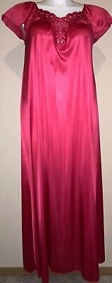 Vanity Fair~Vtg~Sexy Pink~Nylon & Lace~Long Gown Nightgown~S~Usa