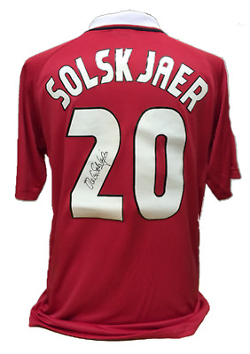 Ole Gunnar Solskjaer Signed Manchester United Champions League 1999 Shirt Proof