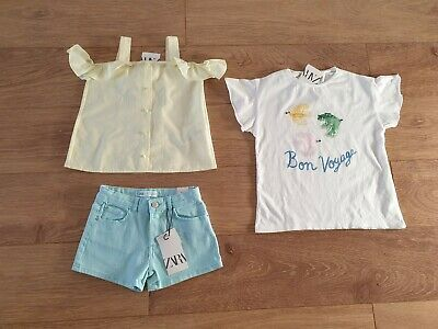 Girls Summer Spring Clothes Bundle size 8 Years Shorts Tops All New Zara