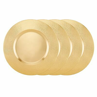 """Champagne Finish Stainless Steel Charger Plate with Hammered Gold 18"""""""