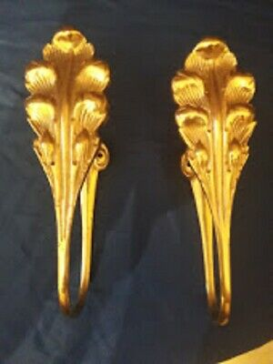 Pair of French Baroque Style Brass Curtain Tie Back Wall Hooks - Height 16cm