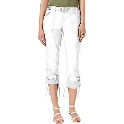INC Womens White Studded Curvy Fit Capri Cargo Pants 4 BHFO 8192
