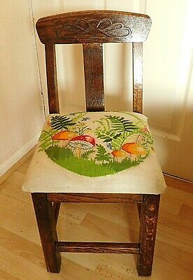 Unique Antique Solid Arts/Crafts Oak Child's Chair / Embroidered Seat Cushion