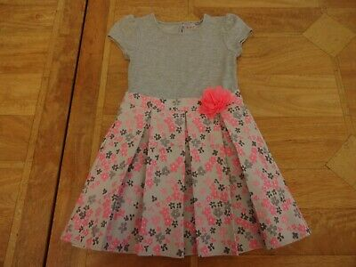 Girls Nutmeg Grey & Pink Sparkly Dress Flowers Pleated Skirt - Age 4-5