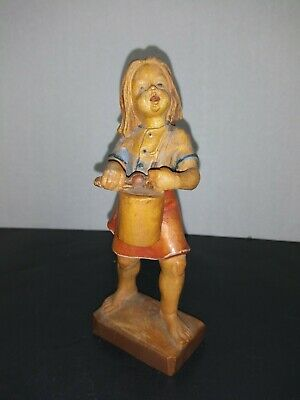 Beautiful Vintage Hand Carved & Painted Wood Little Girl Figure