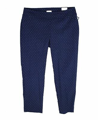Charter Club Women's Pants Blue Size 16W Plus Slim Leg Jacquard Stretch $79 #094