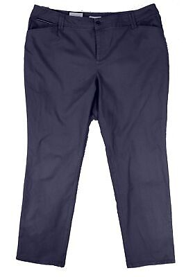 Charter Club Women's Blue Size 20W Plus Slim Leg Khakis Pants Stretch $69 #096