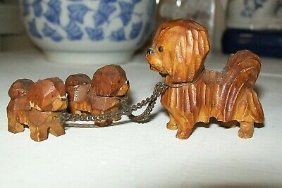 Vintage Antique Hand Carved Wood Pekingese Dog w/ 2 Pups Made in Occupied Japan