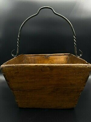Antique Primitive American Handmade Wood Bucket With Hand Forged Iron Handle