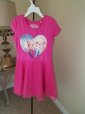 Disney Frozen Girl Elsa Tunic Tutu Dress Hot Pink Size 4 5 6 6X Faux Shrug
