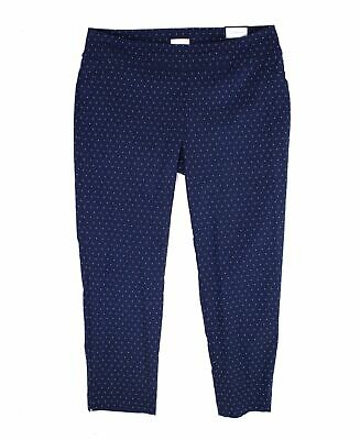 Charter Club Women's Pants Blue Size 16W Plus Slim Leg Jacquard Stretch $79 #457