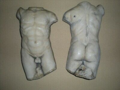 Set Of 2 Vintage Nude Male Torso Wall Hanging Plaques