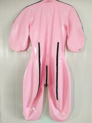 Latex Rubber Catsuit Pink Cosplay Sexy Overall Tight Zipper Jumpsuit S-XXL 0.4mm