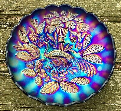 "Carnival ""Wow Factor Electric Blue Northwood Peacock @ Urn Master Ice Cream Bowl"
