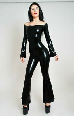 Latex Rubber Catsuit Cosplay Black Square Collar Sexy Sport Jumpsuit S-XXL 0.4mm