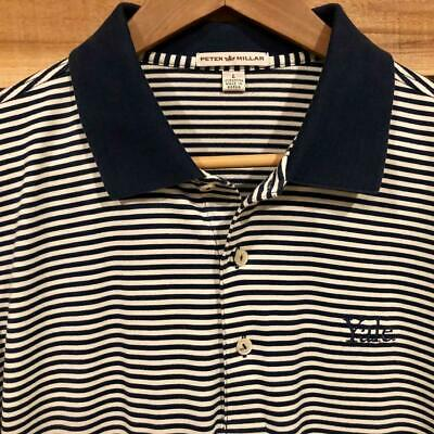 MINT Mens Navy Blue/White Striped Peter Millar Yale College Golf Polo Shirt L