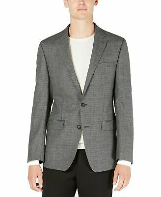 Calvin Klein Mens Blazer Gray 44 Slim Fit Houndstooth Two Button Wool $350 #026