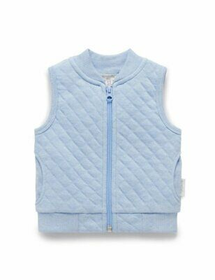 NEW Purebaby Organic Cotton Baby Quilted Vest Sky Blue Melange