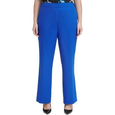 Calvin Klein Womens Blue Straight Leg Dress Pants Trousers Plus 14W BHFO 5670