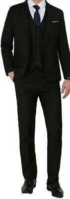 Mage Male Mens Black Size Large L Slim Fit Single Breast 3 Piece Suit $78 #935