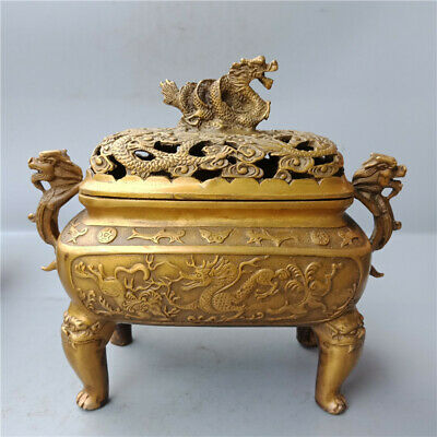Marked Chinese Old Bronze Dragon Dragons Foo Fu Dog Lion Incense Burner Censer