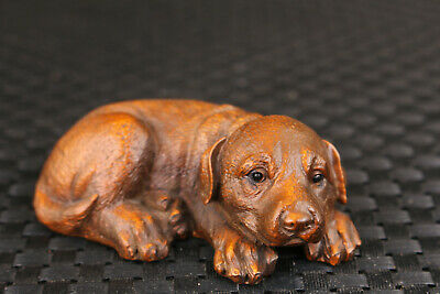 chinese old boxwood hand carved dog statue netsuke Figure table decoration