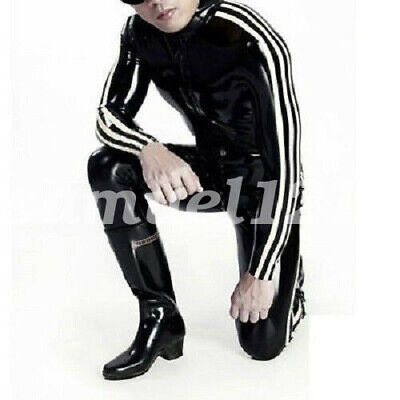 Latex Rubber Black White Stripes Sports Bodysuit Racing Suits Catsuit Sexy S-XXL