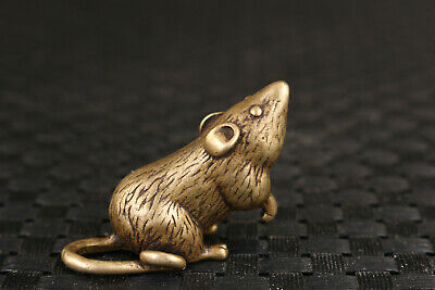 Chinese tibet old bronze handmade mouse statue figure collectable mini gift