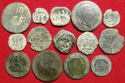 Lot 14 Dated Pirate Treasure Cobs Spanish Maravedis Colonial Old Coins