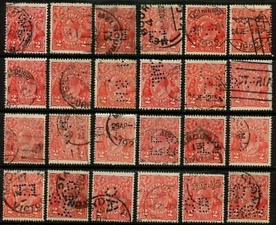 KGV Heads 'Single Crown' Watermark Misc. Perfs - Selection of 24 Stamps VFU