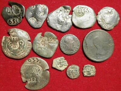 Lot 13 Dated Pirate Treasure Cobs Spanish Maravedis Colonial Old Coins