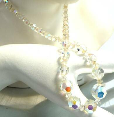 ANTIQUE ART DECO c 1930s CRYSTAL BEAD NECKLACE OLD CRYSTAL GLASS BEADS,