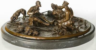 Russian Bronze - Group of Hunting Men - Signed - Solid Marble Base